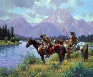puzzel Indische krijgers te paard