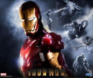 puzzel Iron Man heeft een zeer krachtige harnas dat hem in staat stelt om te vliegen, het geeft een bovenmenselijke kracht en speciale wapens beschikbaar