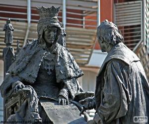 puzzel Isabel la Católica en Christoffel Columbus