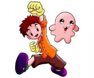puzzel Izzy met zijn Digimon Motimon. Koushiro Izumi is een zeer intelligente jongen