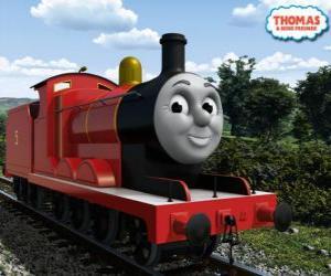 puzzel James, de prachtige locomotief nummer 5 in de rode kleur