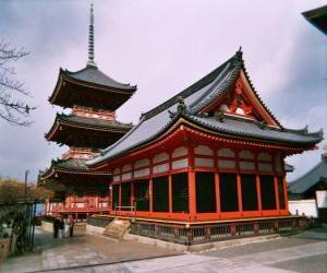 puzzel Japanse tempel in Kiyomizu-dera, in de oude stad van Kyoto, Japan