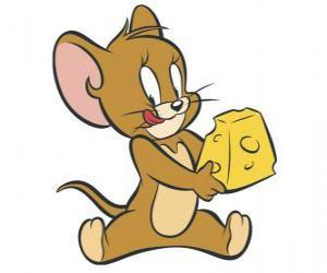 puzzel Jerry het eten van een heerlijk stukje kaas