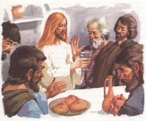puzzel Jezus gezegend brood en wijn bij het Laatste Avondmaal