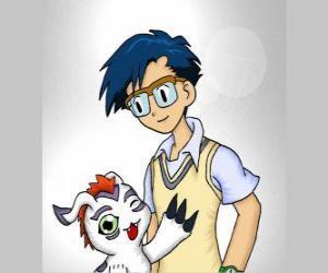 puzzel Joe Kido met zijn Digimon Bukamon, Joe is de stem van de rede binnen de groep