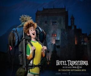 puzzel Jonathan, de jonge reiziger die in het Hotel aankomt