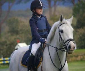 puzzel Jonge renner rijden, meisje op paard