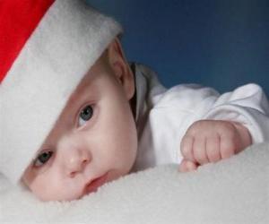 puzzel Jongen met een Kerstman hoed