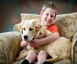 puzzel Jongen met zijn hond