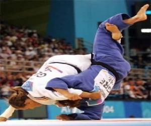 puzzel Judo - Twee judoka's beoefenen