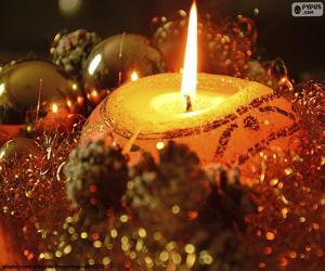 puzzel Kaarsen die voor Kerstmis worden aangestoken