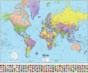 puzzel Kaart met de grenzen van de landen van de wereld