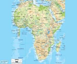 puzzel Kaart van Afrika. Het Afrikaanse continent ligt tussen de Atlantische, Indische en Stille Oceaan. Het is ook begrensd door de Middellandse Zee en de rode zee