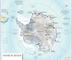 puzzel Kaart van Antarctica. De Zuidpool is op Antarctica