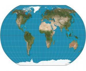puzzel Kaart van de aarde. Kaart met de Robinson projectie waarmee de vertegenwoordiging van de hele wereld