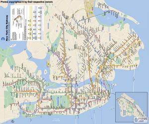 puzzel Kaart van de metro van New York