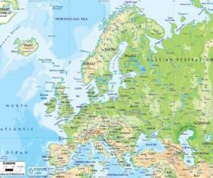 puzzel Kaart van Europa. Het Europese continent breidt via Rusland tot aan het Oeralgebergte