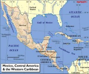 puzzel Kaart van Mexico en Centraal-Amerika. Midden-Amerika, subcontinent aansluiten van Noord-Amerika en Zuid-Amerika