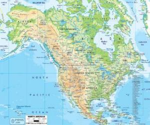 puzzel Kaart van Noord-Amerika. Noord-Amerika dat bestaat uit de landen van Canada, de Verenigde Staten en Mexico