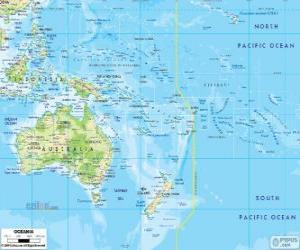 puzzel Kaart van Oceanië. Continent gevormd door Australië en andere eilanden en eilandengroepen in de Stille Oceaan