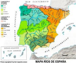 puzzel Kaart van rivieren in Spanje