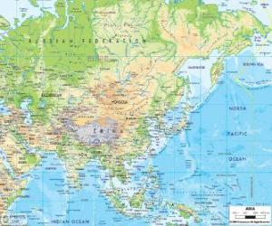 puzzel Kaart van Rusland en Azië. Het Aziatische continent is de grootste en meest bevolkte van de aarde