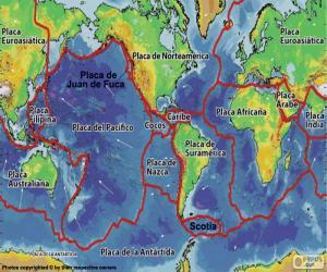 puzzel Kaart van tektonische platen