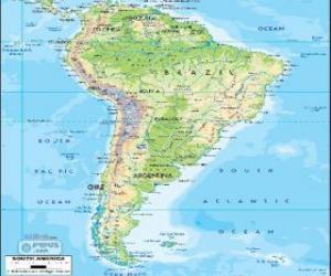 puzzel Kaart van Zuid-Amerika is het zuidelijke continent van Amerika