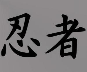 puzzel Kanji of ideogram voor het concept Ninja in het Japans schrift