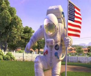 puzzel Kapitein Charles Chuck Baker, hameren de Amerikaanse vlag te landen op Planet 51