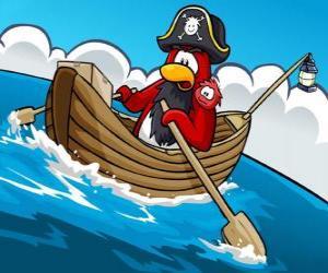puzzel Kapitein Rockhopper en zijn huisdier in zijn boot in de Club Penguin