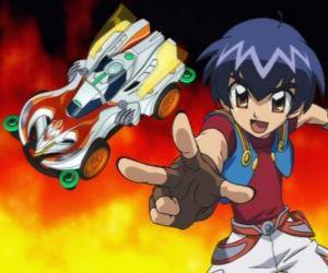 puzzel Kazuya lancering van de auto in een race