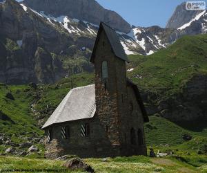 puzzel Kerk van hoge berg, Zwitserland