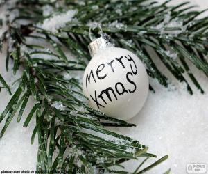 puzzel Kerst bal, Mery Xmas