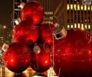 puzzel Kerst ballen rode