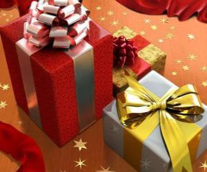 puzzel Kerst cadeaus met linten, strikken