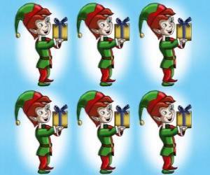 puzzel Kerst elf die een doos van een huidige