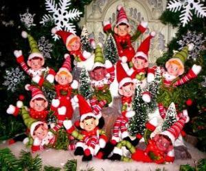 puzzel Kerst Elfen groep