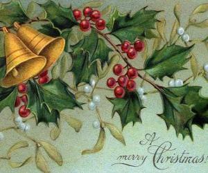 puzzel Kerst klokken versierd met bladeren hulst