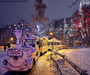 puzzel Kerst markt trein