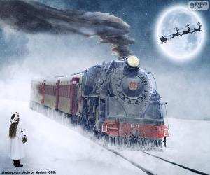 puzzel Kerst stoomlocomotief