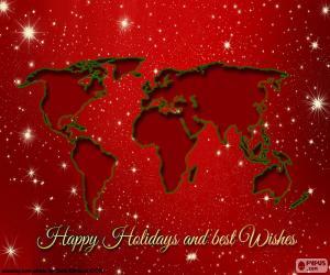 puzzel Kerst wenskaarten, wereld
