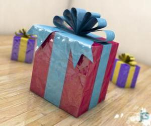 puzzel Kerstcadeaus versierd met linten