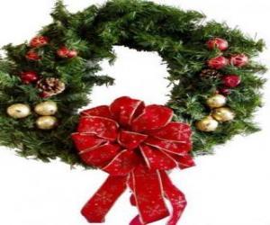 puzzel Kerstkrans versierd met een groot lint en ballen