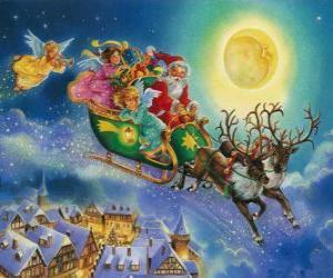 puzzel Kerstman de slee vliegen over huizen tijdens kerstavond