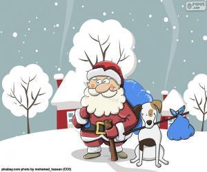 puzzel Kerstman die door een hond wordt begeleid
