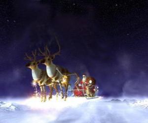 puzzel Kerstman die op zijn Kerstmis slee getrokken door rendieren magisch