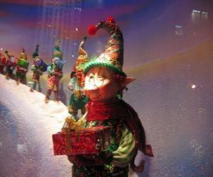 puzzel Kerstman elfen die een geschenkdoos