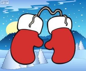 puzzel Kerstman handschoenen. Rode en witte wanten