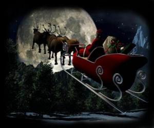 puzzel Kerstman in zijn magische slee getrokken door rendieren die op kerstnacht